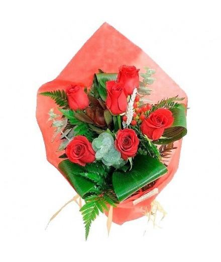 Ramo 6 Rosas rojas 50 cm.