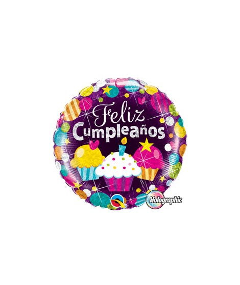 Globo foil Feliz Cumpleaños Cupcakes