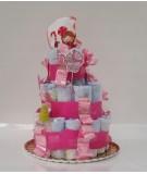 Tarta de pañales rosa