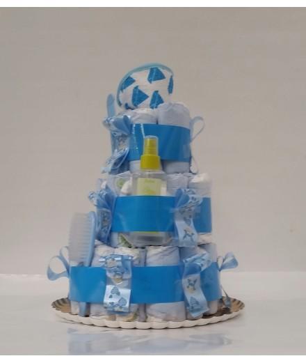 Tarta de pañales azul