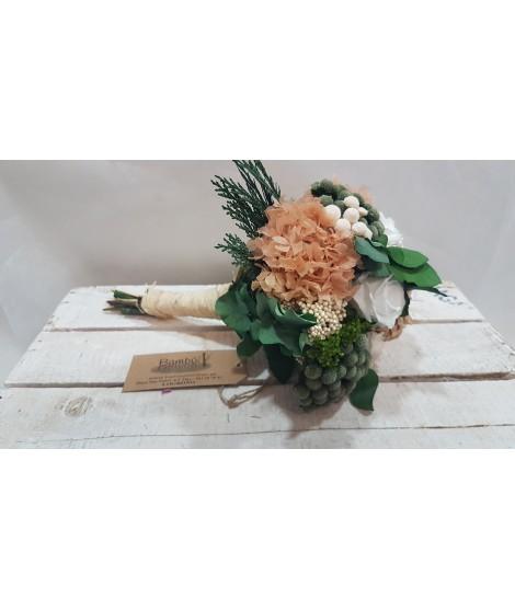 Ramo de novia preservado Blanco y beige
