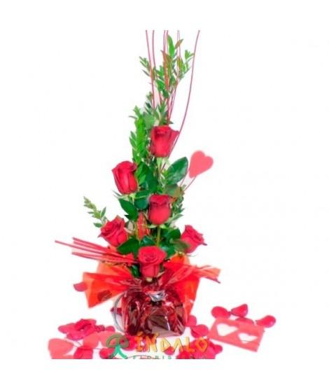 Centro de 6 rosas rojas